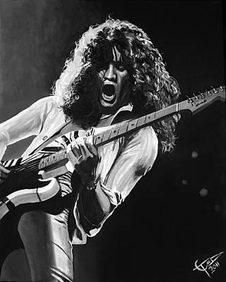 Eddie Van Halen - Black And White Poster by Tom Carlton