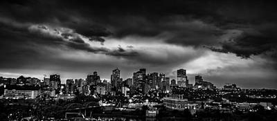 Edmonton At Night Poster by Ian MacDonald