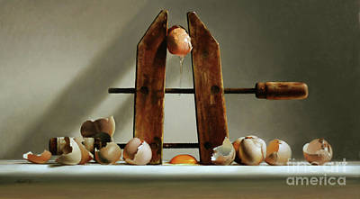 Egg And Shells With Wood Clamp Poster by Larry Preston