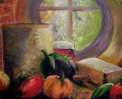 Eggplant In The Window Poster by Renee Summers