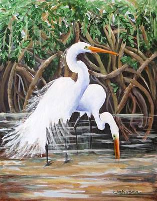 Egrets And Mangroves Poster by Carol Allen Anfinsen