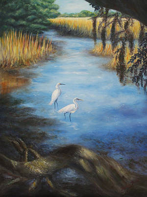 Egrets On The Ashley At Charles Towne Landing Poster by Pamela Poole