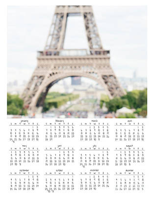 Eiffel Tower 2016 Wall Calendar Poster by Ivy Ho