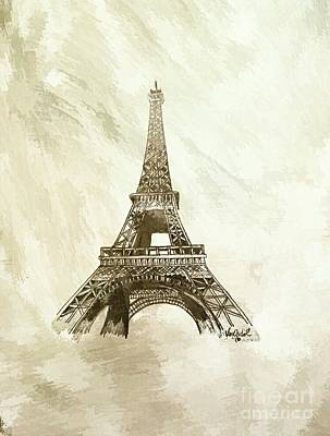 Eiffel Tower Paris France - Abstract Background  Poster by Scott D Van Osdol