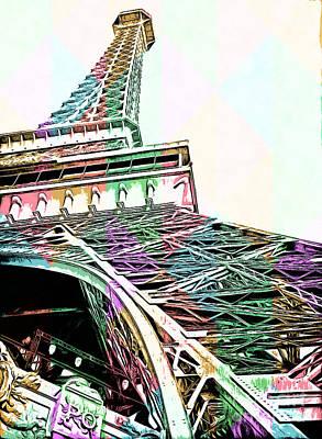 Eiffel Tower Rainbow Poster by Edward Fielding