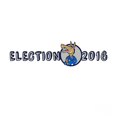Election 2016 Democrat Donkey Mascot Cartoon Poster by Aloysius Patrimonio