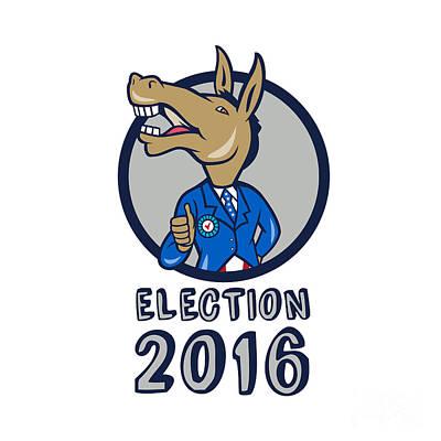Election 2016 Democrat Donkey Mascot Circle Cartoon Poster by Aloysius Patrimonio
