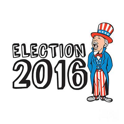 Election 2016 Uncle Sam Shouting Retro Poster by Aloysius Patrimonio