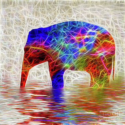 Electric Elephant By Kaye Menner Poster by Kaye Menner