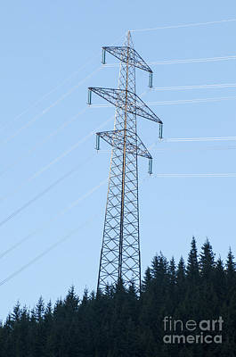 Electric Pylon On Blue Sky Poster by Ilan Rosen