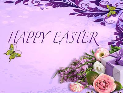 Elegant Easter Card Poster by Debra     Vatalaro