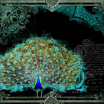 Elegant Peacock W Vintage Scrolls 3 Poster by Audrey Jeanne Roberts