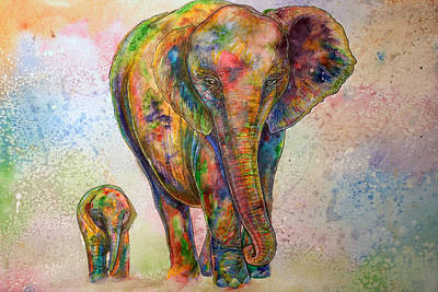Elephant And Calf Poster by Morgo Sladek
