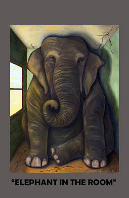 Elephant In The Room With Lettering Poster by Leah Saulnier The Painting Maniac