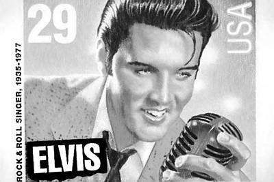 Elvis Commemorative Stamp January 8th 1993 Painted Bw Poster by Rich Franco