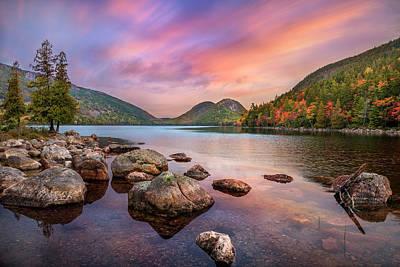 Embrace The Moment - Jordan Pond Sunrise Poster by Thomas Schoeller