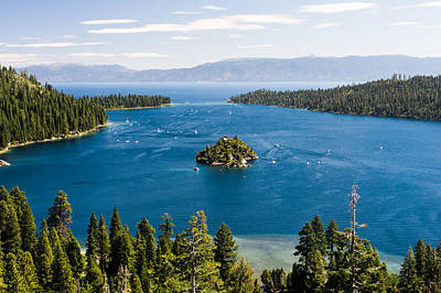 Emerald Bay And Wizard Island At Lake Tahoe In California  Poster by Priya Ghose