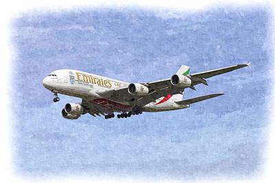 Emirates A380 Airbus Oil Poster by David Pyatt