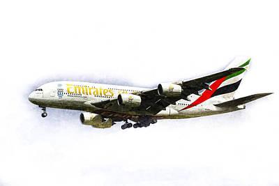 Emirates Airline A380 Art Poster by David Pyatt