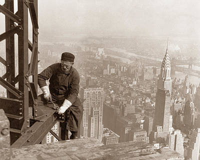 Empire State Building Construction Poster by War Is Hell Store
