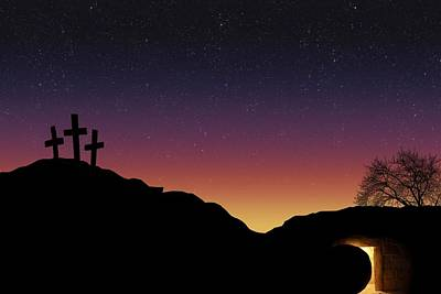 Empty Tomb And Three Crosses Poster by Colette Scharf