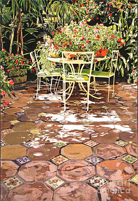 Enchanted Patio Poster by David Lloyd Glover