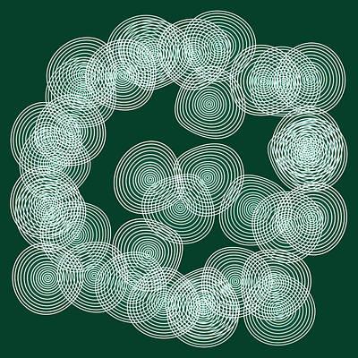English Green Abstract Circles Square Poster by Frank Tschakert