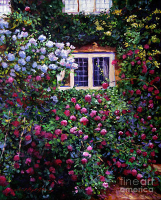 English Manor House Roses Poster by David Lloyd Glover