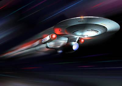 Enterprise C At Warp Poster by Joseph Soiza