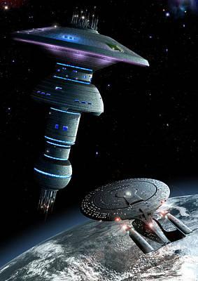 Enterprise D Approaching Earth Spacedock Poster by Joseph Soiza