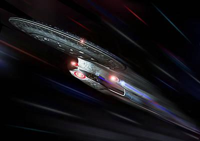Enterprise D At Warp Poster by Joseph Soiza