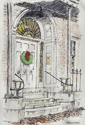 Entrance With A Christmas Wreath Poster by Olga Hamilton