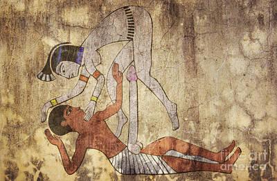 Erotic Drawing Looks Like Fresco Poster by Michal Boubin