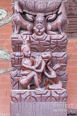 Erotic Wood Carvings At Bachhareshwari Temple Poster by Roberto Morgenthaler