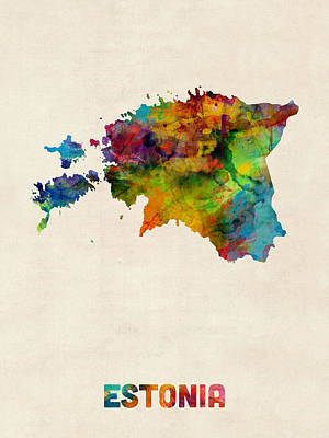 Estonia Watercolor Map Poster by Michael Tompsett