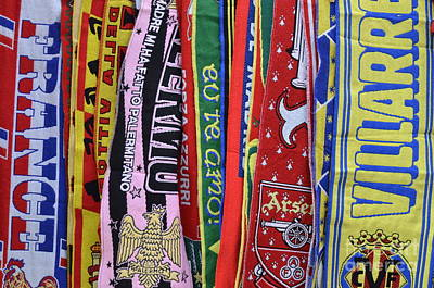 European Soccer Teams Scarfs For Sale In Store Poster by Sami Sarkis