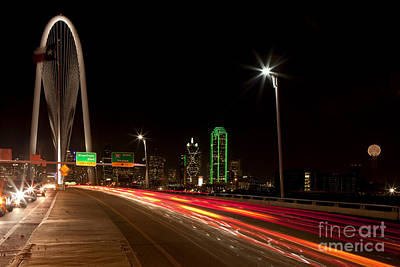 Evening Commute On The Margaret Hunt Hill Bridge In Downtown Dallas Poster by Anthony Totah