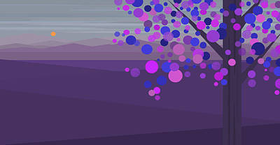 Evening Tree - Purple Poster by Val Arie