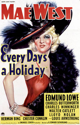 Every Days A Holiday, Mae West, 1937 Poster by Everett