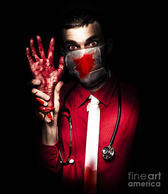 Evil Dark Medical Surgeon Waving Amputated Hand Poster by Jorgo Photography - Wall Art Gallery