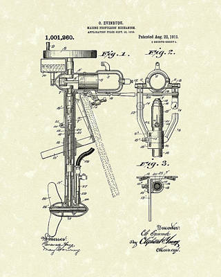 Evinrude Boat Motor 1911 Patent Art Poster by Prior Art Design