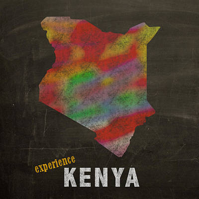 Experience Kenya Map Hand Drawn Country Illustration On Chalkboard Vintage Travel Promotional Poster Poster by Design Turnpike