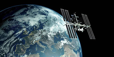 Extremely Detailed View Of Iss - International Space Station Orbiting Earth Poster by Sasa Kadrijevic