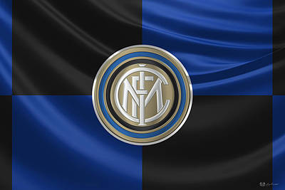 F. C. Inter Milan - New 3 D Badge Over Flag Poster by Serge Averbukh