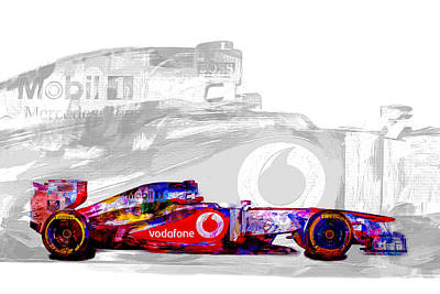 F1 Race Car Digital Painting Poster by David Haskett