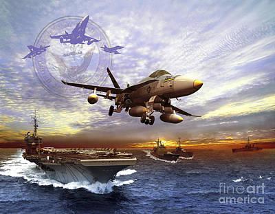 Fa-18 Hornet Taking Off Of A U.s. Navy Poster by Kurt Miller