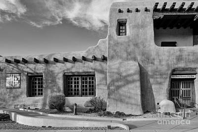 Facade Of New Mexico Museum Of Art In Black And White - Santa Fe New Mexico Poster by Silvio Ligutti
