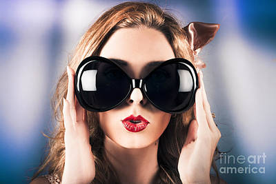 Face Of A Surprised Pinup Girl In Funny Sunglasses Poster by Jorgo Photography - Wall Art Gallery