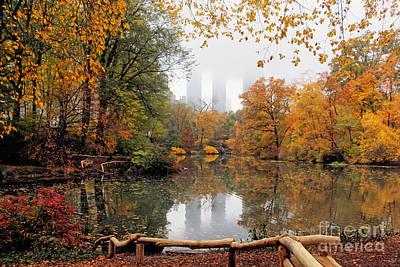 Fall Colors In Central Park Poster by Nishanth Gopinathan