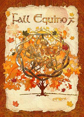 Fall Equinox 3d Folk Art Poster by Sharon and Renee Lozen